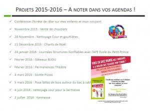 Projets 2015-2016 – A noter dans vos agendas